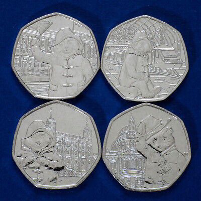 2018-2019 Full Sets 4 x 50p Paddington Bear Coins Uncirculated from Sealed Bags
