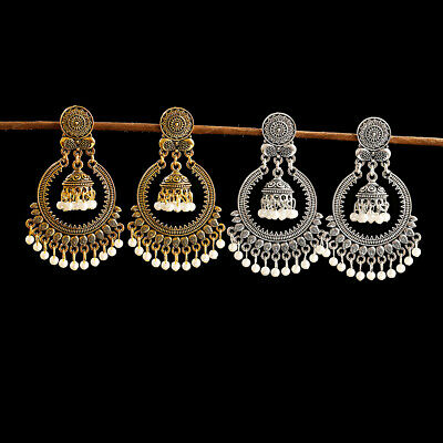 Vintage Retro Gold Silver Ethnic Indian Jhumki Stud Earrings Gypsy Tibet Jewelry
