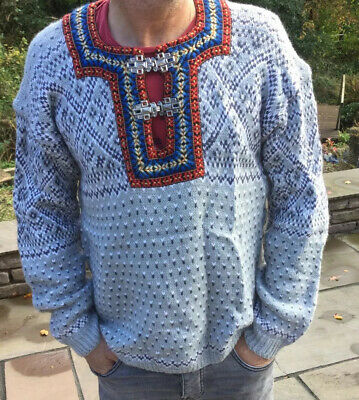 Traditional Grey   Nordic Norwegian Pattern Clasp Neck Wool Jumper Size M/L