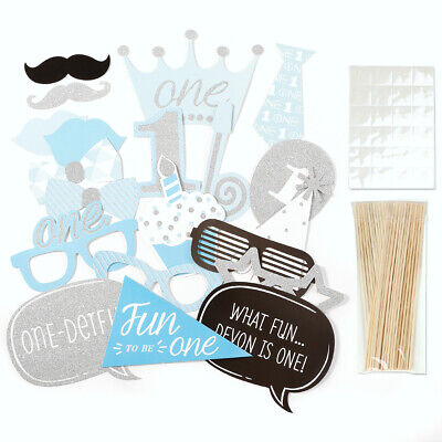 20x Boy 1st Birthday Photo Booth Props Blue Baby Show First Party Decoration DIY