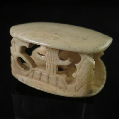 Antique Japanese NETSUKE Clam House Miniature sculptures Open carving in Meiji