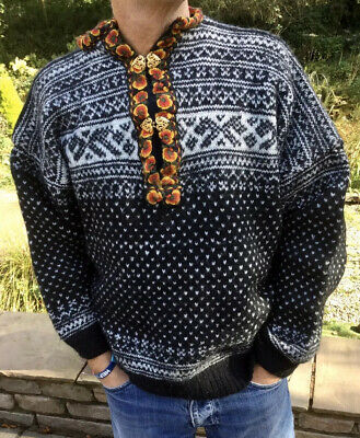 Traditional Black  Nordic Norwegian Pattern Clasp Neck Wool Jumper Size Large/xl