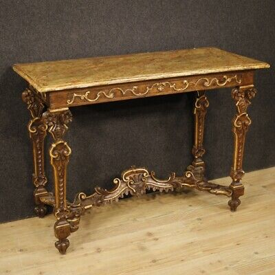 Antique Console Italian Table Furniture Wooden Lacquered Golden Living 800 XIX