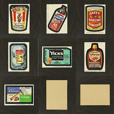 1974 WACKY PACKAGES 8th Series Set of 7 Selected Sticker Cards Brown Back