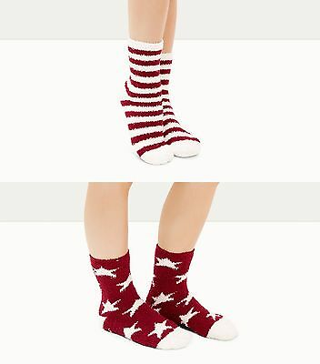 2 Pairs Of Ladies Fluffy Bed Slipper Socks In Dark Red One Size Fits All