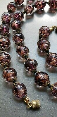 """Vintage Venetian Murano Art Glass Bead Necklace, Hand Knotted, Italian 24"""""""