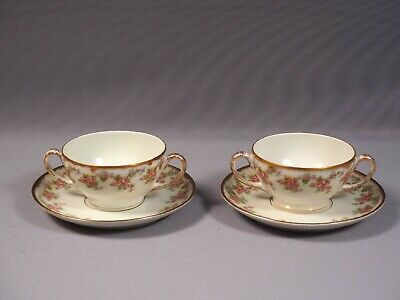 BRIDAL WREATH Bawo Dotter Elite Antique Limoges France Cream Soup Bouillon Cup