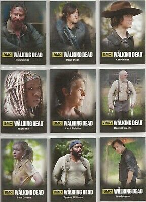 The Walking Dead Season 4 Part 1 Trading Cards - Character Set (C01-C09)