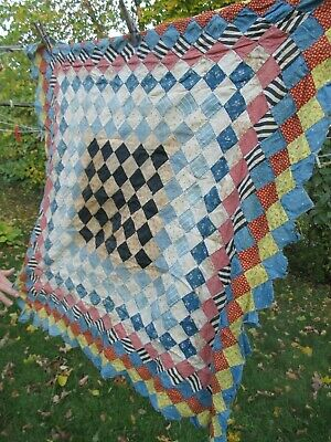 """Antique Mass. """"POSTAGE STAMP"""" Patchwork Hand Sewn Wall Hanging, Quilt Top, c1900"""