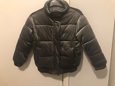 Girls Next Silver Grey Padded Velvet Coat Puffer Jacket Quilted Age 7