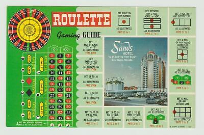 THE SANDS CASINO*ROULETTE GAMING GUIDE**LAS VEGAS NEVADA hotel Post Card ~F-115