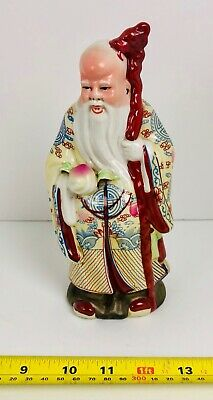 Vintage Antique Chinese Porcelain Figure Old Man Holding Peach Figurine