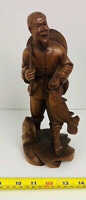 Vintage Antique Asian Hand Carved Wood Figure Old Chinese Man With Fish Statue