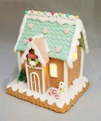 """Gingerbread House Green Brown Candy Snowman LED Light Up Clay-dough 6"""" Gerson"""