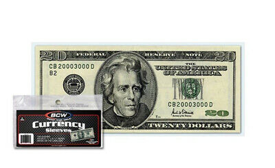(50) Bcw Small Us Note Soft Poly Currency Dollar Bill Paper Money Sleeves