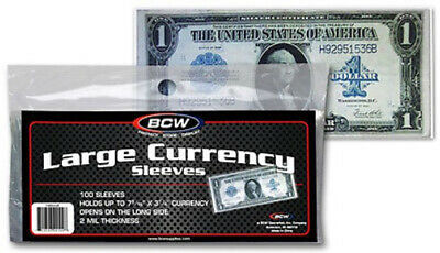 (300) Bcw Large Us Dollar Bill Banknote Soft Poly Currency Paper Money Sleeves