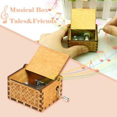 Retro Wooden Hand Cranked Music Box for Birthday Gift Household Party Decor Toy