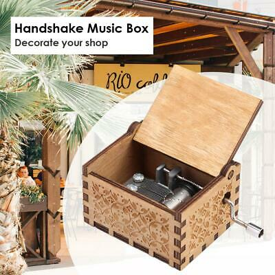 Retro Wood Hand Cranked Music Box Xmas Party Gift Household Decor Ornament Toy