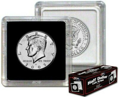(4) Bcw Half Dollar Size 2X2 Square Coin Snap Storage Display Case Holders