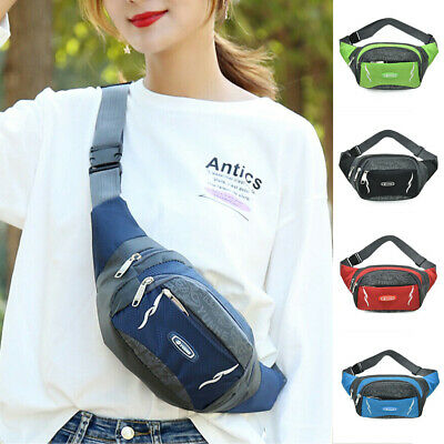 AU Unisex Running Hiking Sport Bum Bag Travel Fanny Pack Waist Belt Zip Pouch