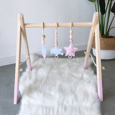 Nordic Wooden Baby Educational Toys Play Gym With Rattles Kids Room Decor AM8