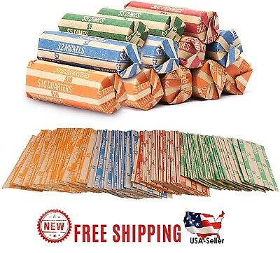 Coin Roll Wrappers 440 Pack Assorted Flat Papers Bundle Quarter Nickels Dime New
