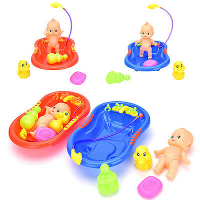 5xBaby Doll in Bath Tub with Duck +Shower Accessories Set Kid Pretend Play ToyJR