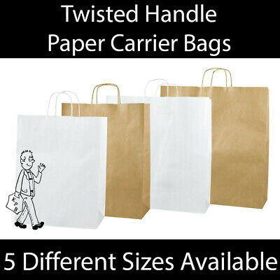 White / Brown Kraft Twist Handle Paper Carrier Bags Boutique Gifts Bags