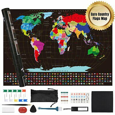 Scratch Off World Map Poster with UK States Country Flags +Memory Stickers,Tube