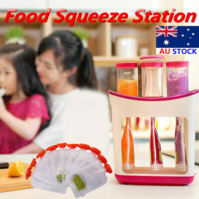 AU Fresh Food Squeezed Squeeze Station Children Baby Weaning Puree Pouches Gift
