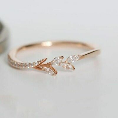 Leaf Crystal Rose Gold Engagement & Wedding Rings For Female Jewelry Gifts