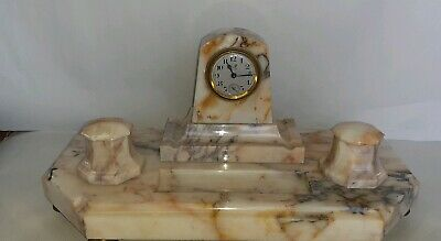 Stunning Antique Marble Base Duverdrey & Bloquel  clock @ Desk Tidy Art Deco
