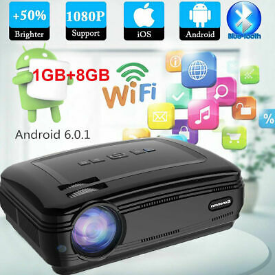 Smart HD Android Projector Wifi BT Video Home Cinema HDMI Night USB Movie VGA