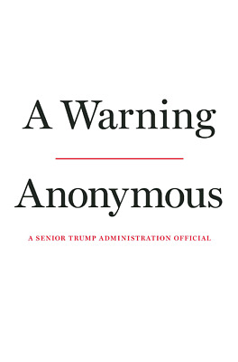 NEW (PRE ORDER) HADCOVER A Warning By Anonymous on November 19, 2019