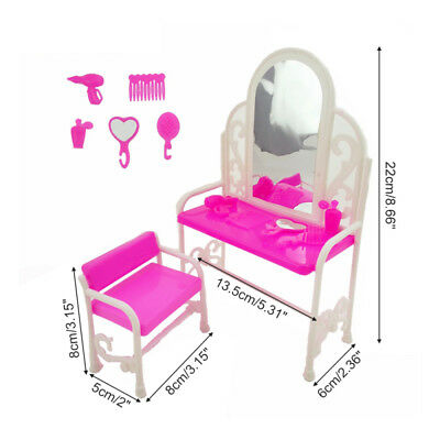 Fashion Bedroom Furniture Dressing Pink Bed Table & Chair Set For Barbies Dolls