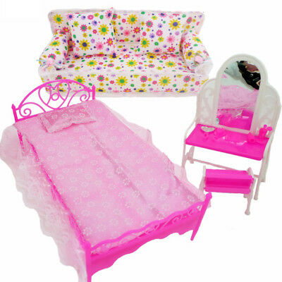 Bedroom Fashion Furniture Pink Bed Dressing Table & Chair Set For Barbies Dolls