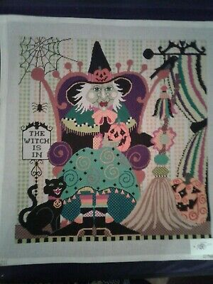 Needlepoint Hand Painted Canvas. The Witch is IN. Halloween Pattern. 18 Stitch