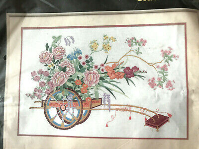 "BNIP Oriental Flower Cart Crewel Embroidery Kit - 24""x16"" Japanese Chinese"