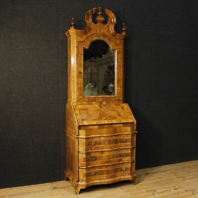 Trumeau Inlaid Wood Mirror Furniture Secretary Desk Cupboard Fore Antique