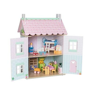 Le Toy Van TRADITIONAL TOYS Wooden Sweetheart Cottage Dolls House with furniture