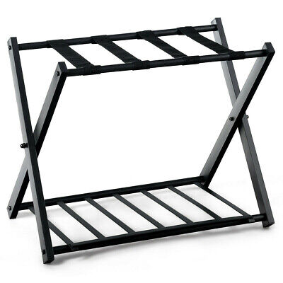 Folding Luggage Rack With Shelf  Metal Suitcase Holder Stand Travel Bag Storage