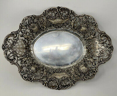 GERMAN? Antique  REPOUSSE Baroque Ornate 17.8 oz  800 SILVER CHERUB FLORAL TRAY