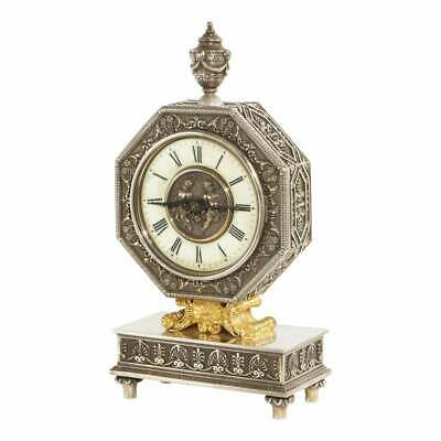 Edward F. Caldwell & Co., An American Gilt and Silvered Bronze Table Clock