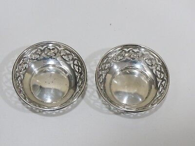 Two Antique MERIDEN BRITTANIA Pierced Sterling Small Dishes or Candle Holders