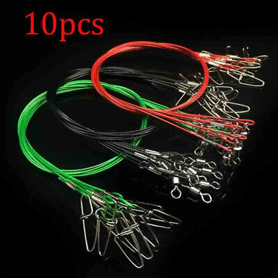 10pcs 50CM Fishing Trace Lures Leader Stainless Steel Wire Fishing Line 150LB