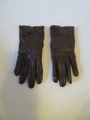 Womens Madova Brown Leather Gloves Sz 7.5*