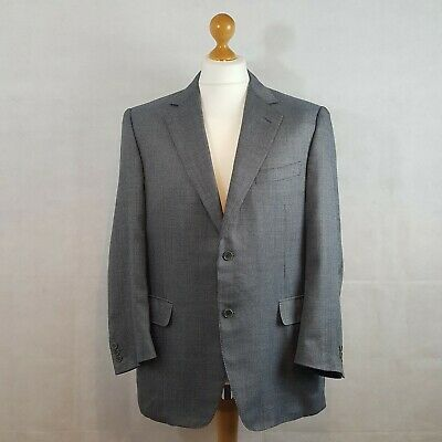 CANALI Mens Blazer Jacket Grey Size 42 Silk And Wool Patterned Double Rear Vent