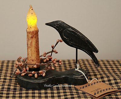 "Primitive Crow Holder & 4.5"" Burnt Ivory TIMER Battery Candle & Pip Ring"
