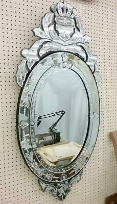 """Vintage Etched Venetian Glass Mirror Oval XLarge 53"""" X 25"""" Wood Back"""