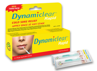 * Dynamiclear Rapid Cold Sore Relief Cream 0.5mL Twin Pack